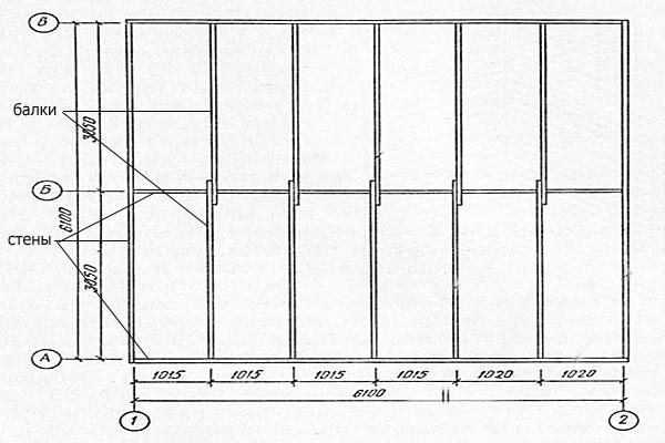 Схема перекрытия дома деревянными балками